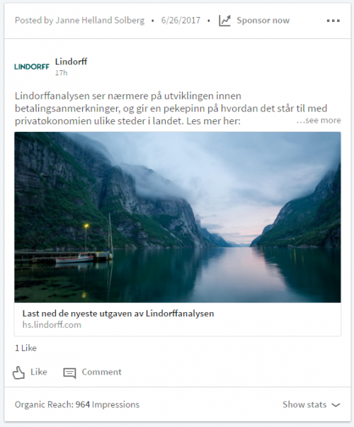 Eksempel 1: Post uten bilde - bildet er autogenerert fra linken. Rettet mot våre  ca 2000 følgere i Norge. Fikk en organisk rekkevidde på 964